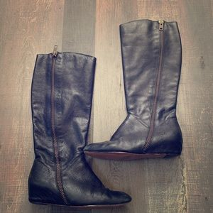 Corso Como leather wedge boots size 9